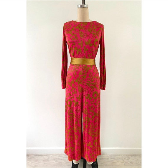 Vintage 1970s Jumpsuit / 70s Pink and Gold Jumpsui