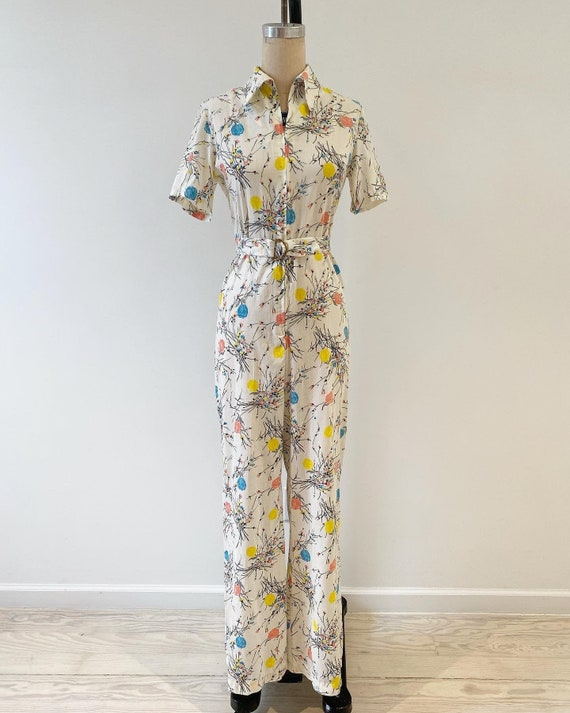 Vintage 1970s Jumpsuit / 70s Floral Coverall Jumps