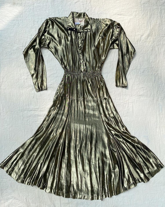 Vintage 1980s Dress /80s Gold Lamé Dress / Small