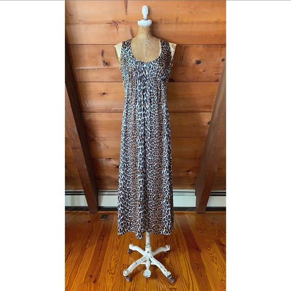 Vintage 1960s Dress / 70s Leopard Print Nightgown