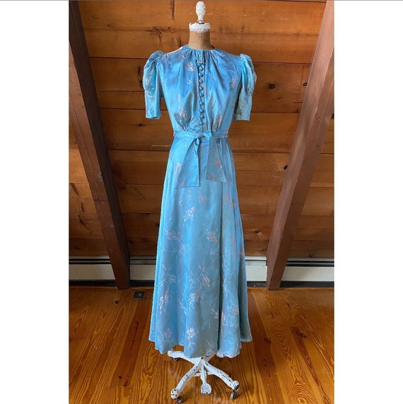 Vintage 1930s Dressing Gown / 40s Blue Silver Dama