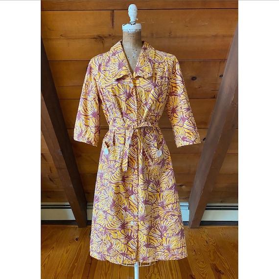 Vintage 1940s Dressing Gown / 50s VOLUMP Robe / XL