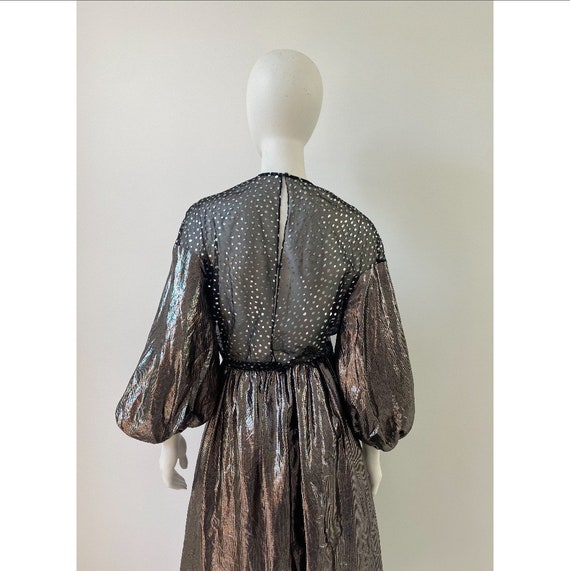 Vintage 1980s Dress / 80s Silver Lamé Balloon Sle… - image 6