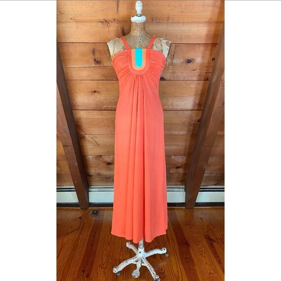 Vintage 1970s Dress / 70s Grecian Rainbow Dress /