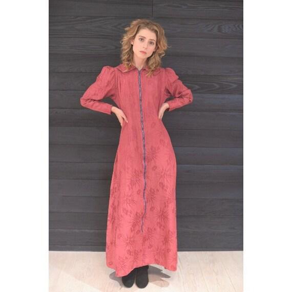 Vintage 1930s Dressing Gown / 30s Burgundy Damask