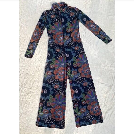 Vintage 1970s Jumpsuit / 70s Black Floral Jumpsuit