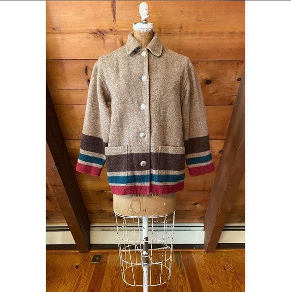 Vintage 1980s Coat / 80s Wool Striped Blanket Chor