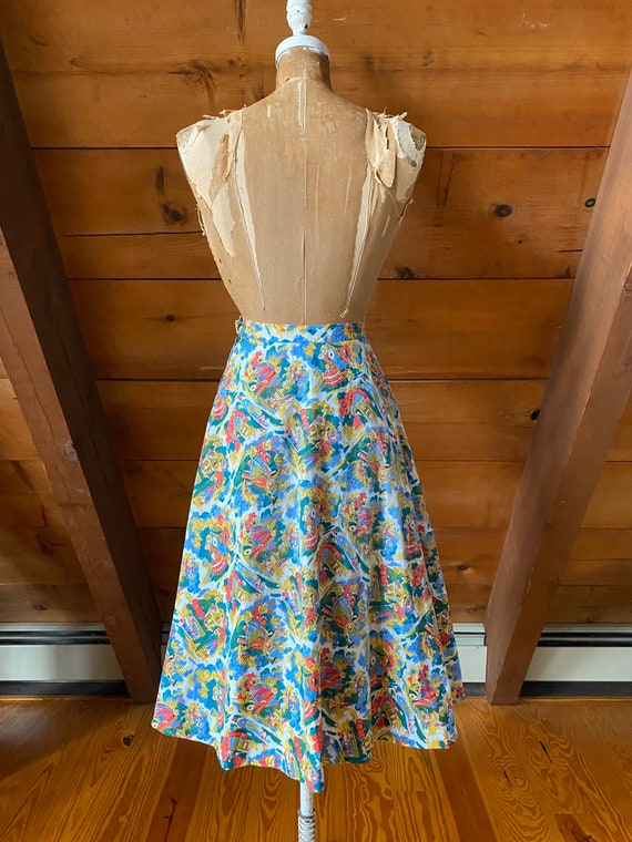 Vintage 50s Skirt / 50s Novelty Print Skirt / Ext… - image 5