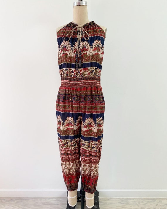Vintage 1990s Jumpsuit / 80s Indian Cotton Jumpsui
