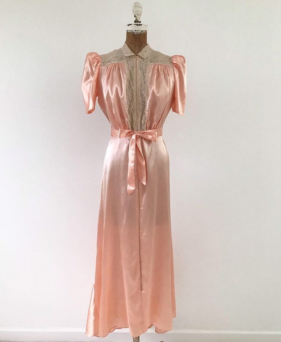 Vintage 1930s Dressing Gown Late 30s Satin Lace Zip Up Dress Medium