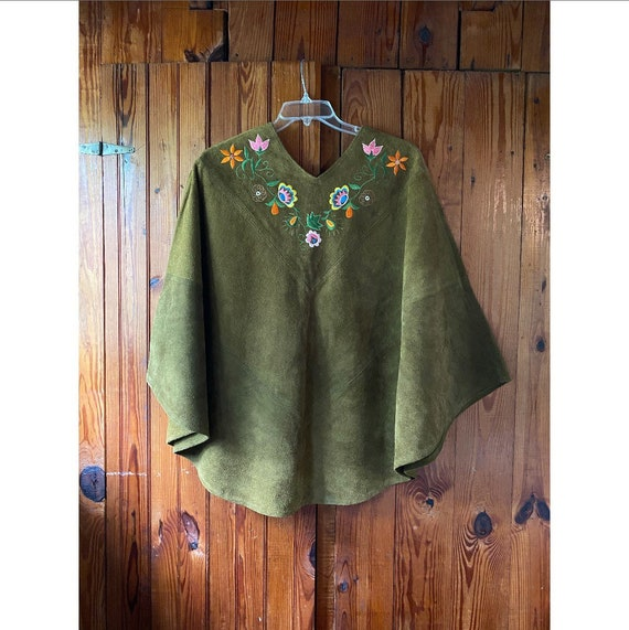 Vintage 1960s Cape / 70s Embroidered Suede Poncho