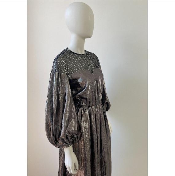 Vintage 1980s Dress / 80s Silver Lamé Balloon Sle… - image 9