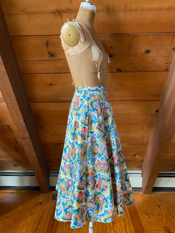 Vintage 50s Skirt / 50s Novelty Print Skirt / Ext… - image 4