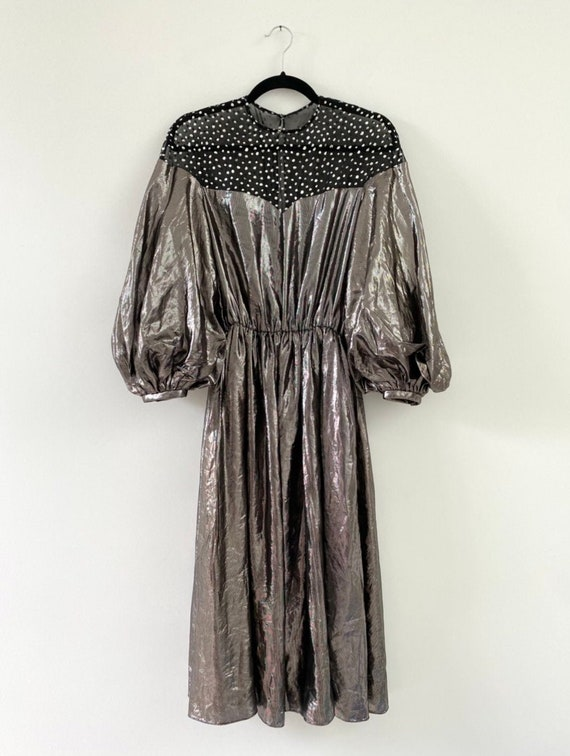 Vintage 1980s Dress / 80s Silver Lamé Balloon Sle… - image 1