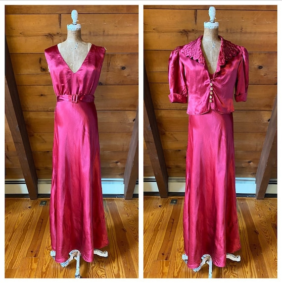 Vintage 1930s Satin Gown / AS-IS 30s Red Satin Dre