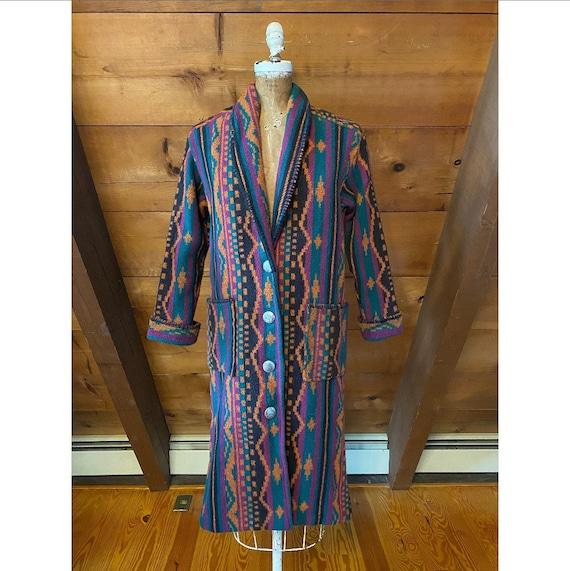 Vintage 1980s Coat / 80s Southwest Western Blanket
