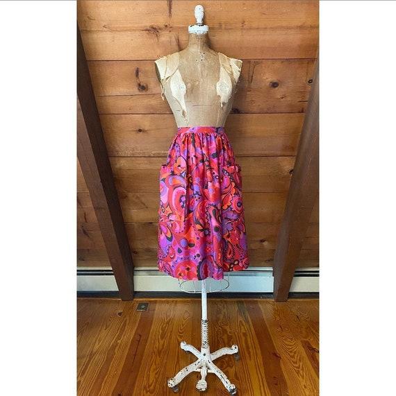 Vintage 60s Skirt / 60s Funky Paisley Skirt / Extr