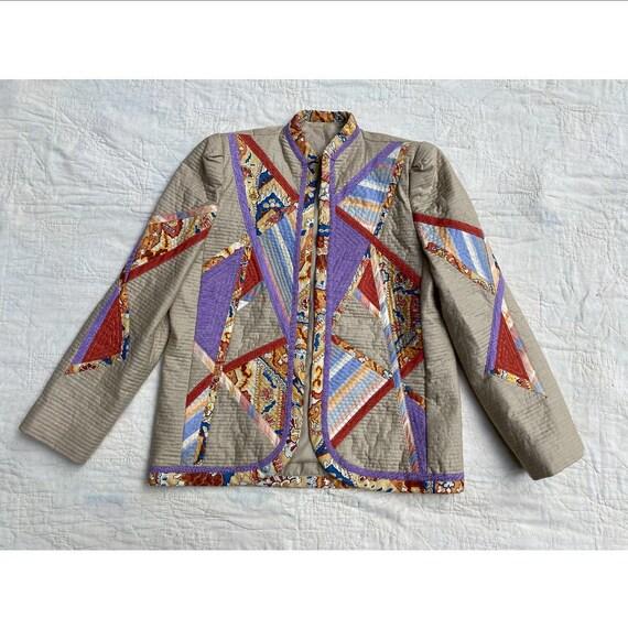 Vintage 1970s Jacket / 80s Quilt Patchwork Jacket