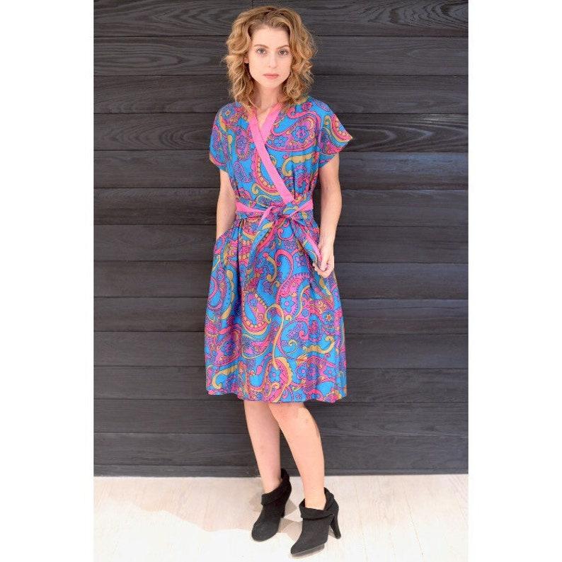 Vintage 1960s Dress  60s Colorful Paisley Wrap Dress  Small