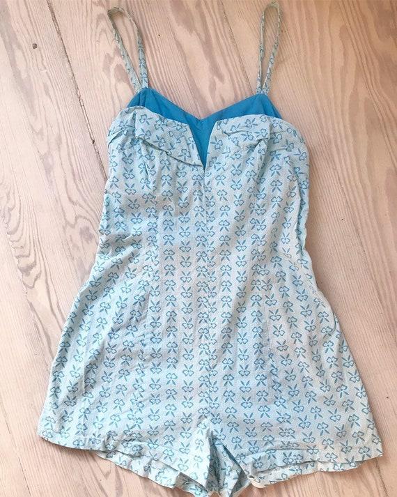 Vintage 1960s Romper / 60s Blue Playsuit / Small