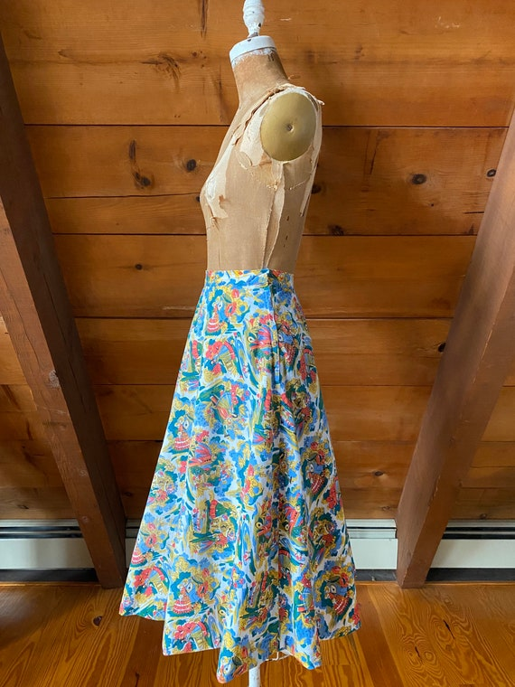 Vintage 50s Skirt / 50s Novelty Print Skirt / Ext… - image 6