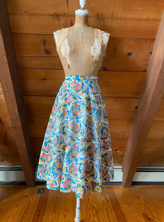 Vintage 50s Skirt / 50s Novelty Print Skirt / Ext… - image 1