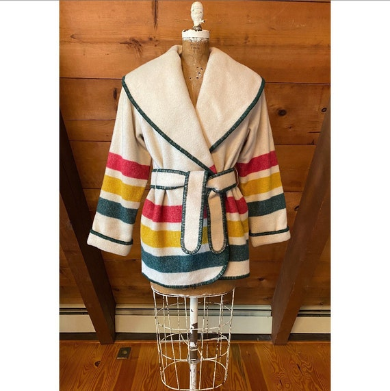 Vintage 1970s Coat / 80s Woolrich Hudson Bay Strip