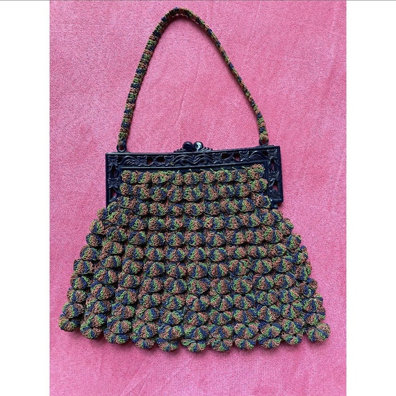 Vintage 1930s Purse / 40s Rainbow Corde Crochet Ha