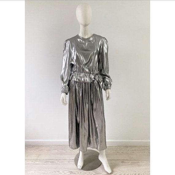 Vintage 1980s Dress /80s Silver Lamé Skirt Set / M