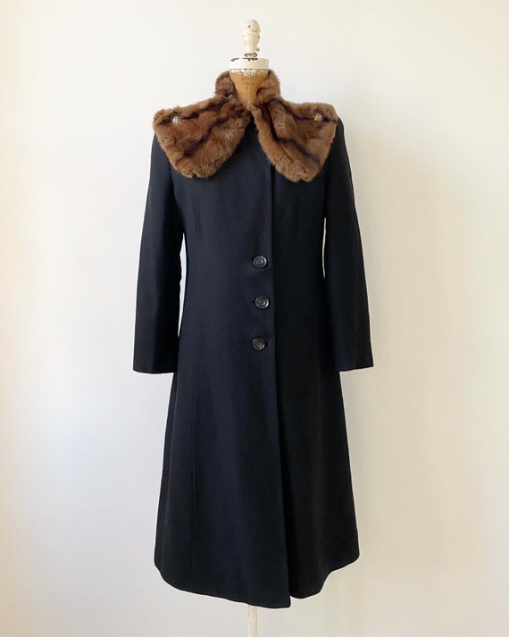 Vintage 1940s Coat / 40s Black Wool Coat with Fur