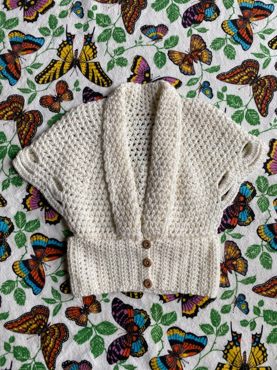 Vintage 1970s Sweater / 70s does 30s White Crochet
