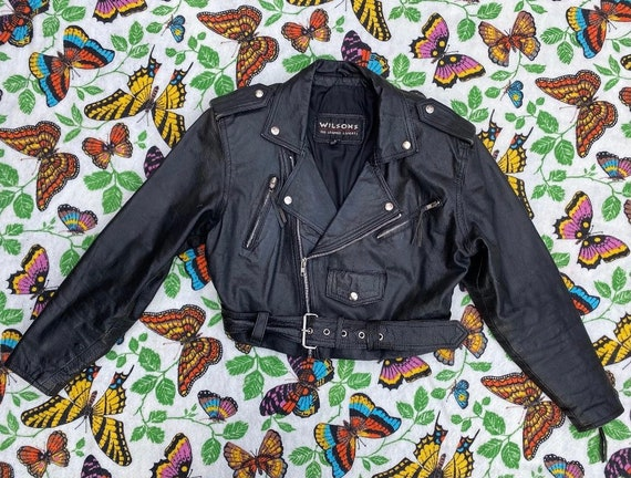 Vintage 1980s Jacket / 80s Black Leather Cropped M