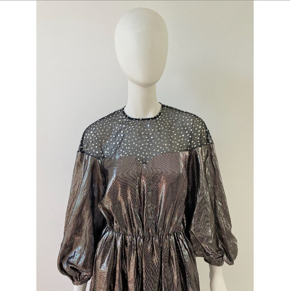 Vintage 1980s Dress / 80s Silver Lamé Balloon Sle… - image 3