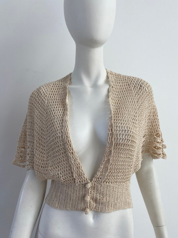 Vintage 1930s Sweater / 30s Crochet Cardigan / Me… - image 1