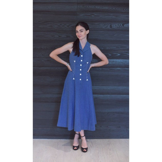 Vintage 1950s Dress / 50s T-back Chambray Dress /