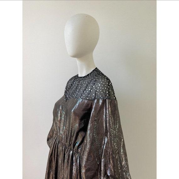 Vintage 1980s Dress / 80s Silver Lamé Balloon Sle… - image 8