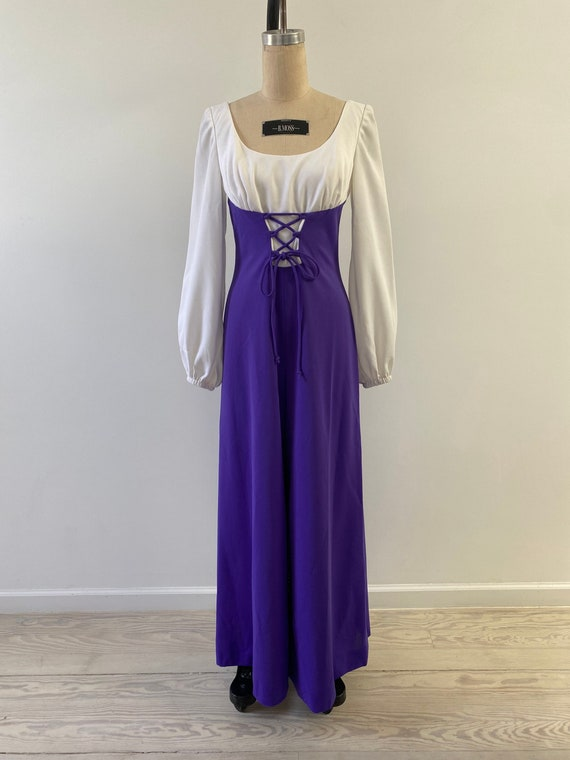 Vintage 1970s Jumpsuit / 70s Purple Corset and Pal