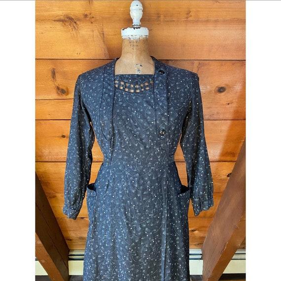 Vintage 1940s Dress / 40s French Workwear Chore W… - image 2