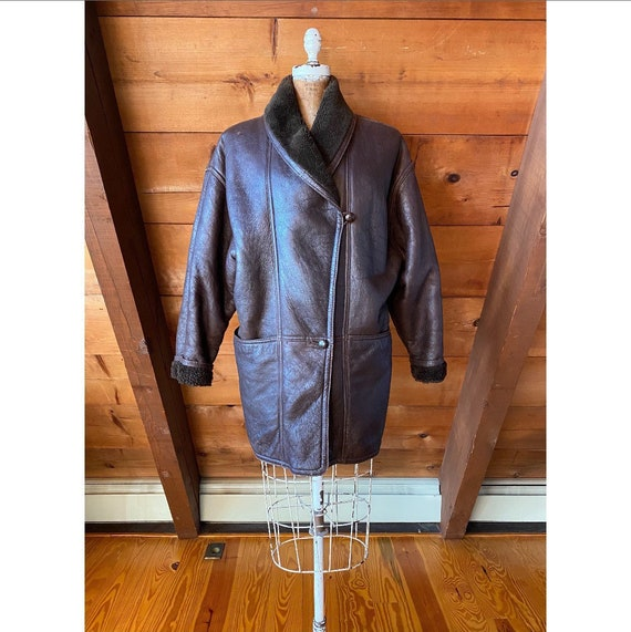 Vintage 1980s Coat / 80s Brown Leather Sheepskin S