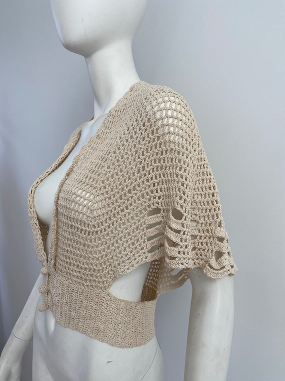 Vintage 1930s Sweater / 30s Crochet Cardigan / Me… - image 2