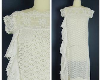 Vintage 1920s Dress / 20s White Cotton Eyelet Crochet Dress / Small