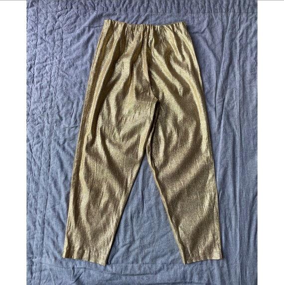 Vintage 1960s Pants / 60s Gold Metallic Lamé Cigar