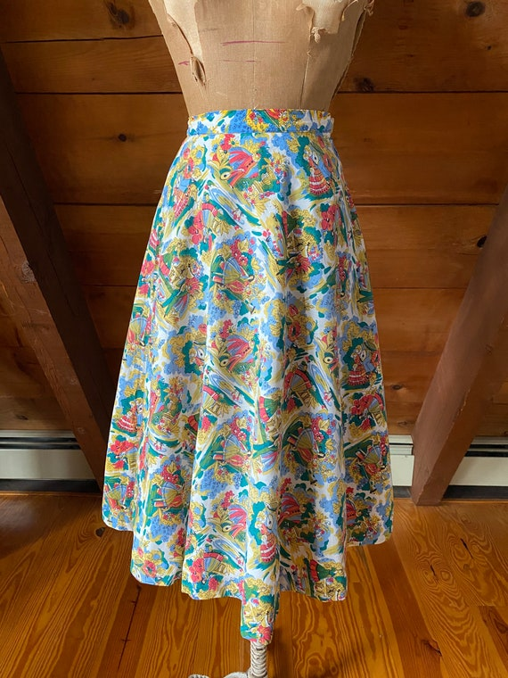 Vintage 50s Skirt / 50s Novelty Print Skirt / Ext… - image 3