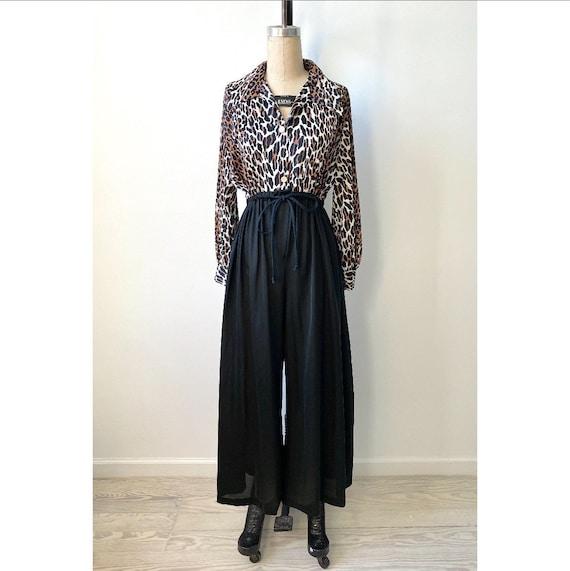 Vintage 1970s Jumpsuit / 70s Leopard Print Loungew