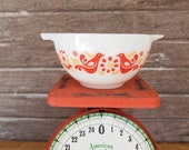 Retro Vintage Pyrex Friendship Bird Bowl with spouts handles 7 quot Orange Yellow Spring Sunshine Casserole r040119lgs