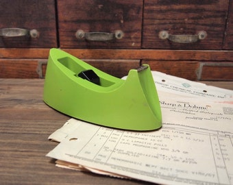 Vintage Lime Green Scotch Tape Dispenser Home Office Retro