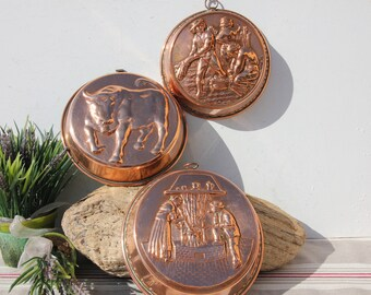 """Vtg Copper Bundt Cake Mold 7.5"""" Round Country Kitchen French Wall Decor 2 Avail."""