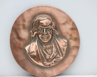 French Vintage copper portrait plaque,copper picture,home decor,wall decor