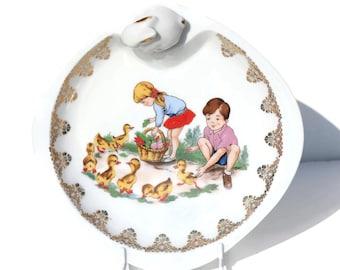Vintage Limoges Baby Warming Plate, Limoges French Porcelain