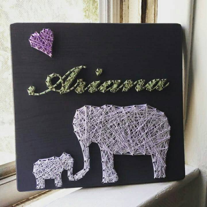 Mommy And Baby Elephant String Art Personalized String Art Baby Shower Gift Birthday Gift Elephant Theme Personalized Gift